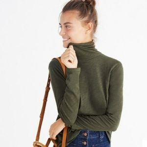 Madewell Whisper Cotton Turtleneck (Dried Olive)